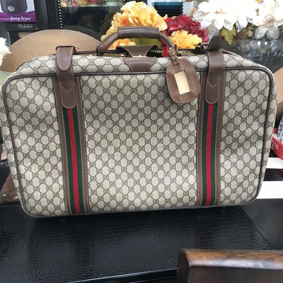 57d46e3620cd Gucci Bags | Vintage Monogram Suitcase Travel Luggage | Poshmark